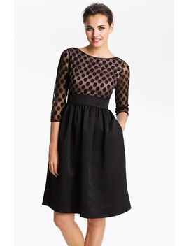 dot-mesh-bodice-fit-&-flare-dress by eliza-j