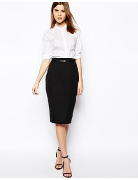 asos-belted-pencil-skirt-in-longer-length by asos-collection