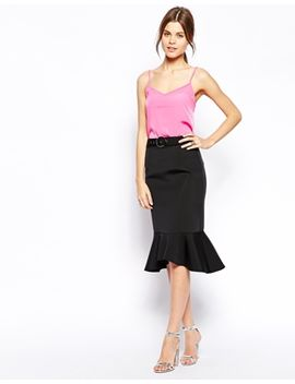 asos-premium-pencil-skirt-with-belt-in-bonded-scuba by asos-collection