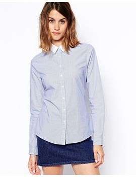 asos-stripe-fitted-shirt-in-blue-and-white-stripe-with-white-collar by asos-collection