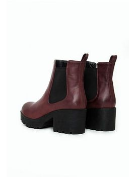 lana-faux-leather-cleated-sole-chelsea-boots-burgundy by missguided