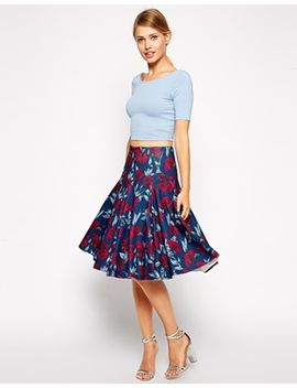 asos-full-midi-skirt-in-rose-print by asos-collection