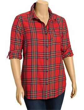 womens-plus-plaid-flannel-button-front-shirts by old-navy