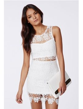 kelsey-crochet-insert-midi-dress-white by missguided