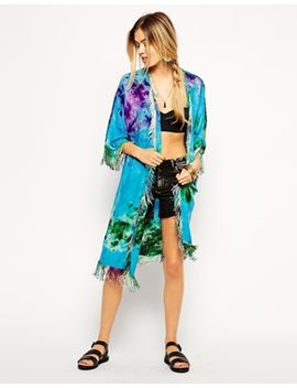 asos-tie-dye-fringed-beach-kimono by asos-collection