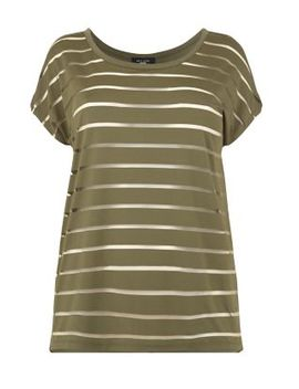 inspire-khaki-sheer-stripe-t-shirt by new-look