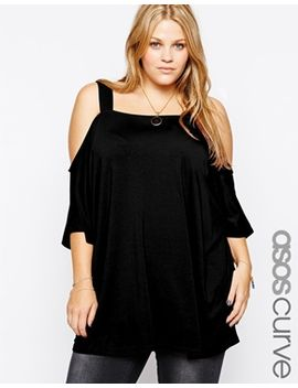 asos-curve-exclusive-longline-top-with-cold-shoulder by asos-curve