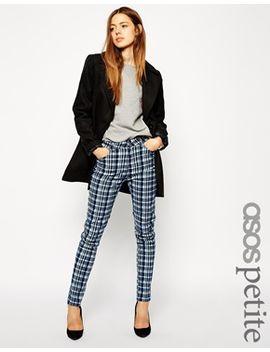 asos-petite-printed-tartan-check-skinny-trousers by asos-petite