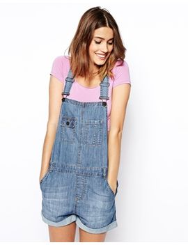 asos-denim-overall-shorts-in-vintage-wash by asos-collection