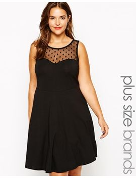 new-look-inspire-spot-mesh-insert-skater-dress by new-look-inspire