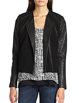 leather-and-ponte-zip-jacket by vince