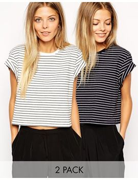 asos-cropped-boyfriend-t-shirt-with-roll-sleeve-in-stripe-2-pack by asos-collection