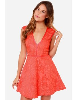 lumier-last-chance-coral-red-lace-dress by lulus