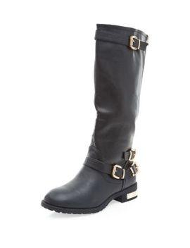 wide-fit-black-metal-trim-heel-high-leg-biker-boots by new-look