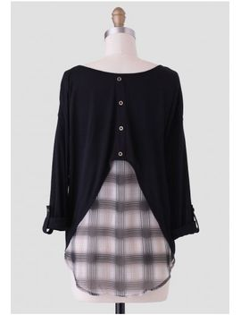 leland-plaid-top-in-black by ruche