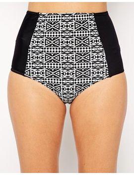 asos-mono-geo-tribal-print-high-waist-bikini by asos-brand