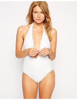 asos-lace-v-plunge-halter-swimsuit by asos-collection