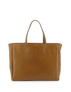 reversible-calfskin-shopping-tote-bag,-dark-camel by saint-laurent