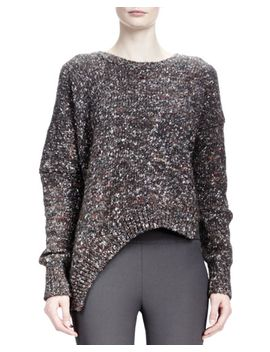 long-sleeve-asymmetric-hem-chunky-sweater,-charcoal by stella-mccartney