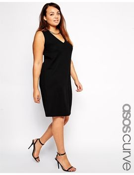 asos-curve-shift-dress-with-deep-v by asos-curve