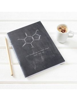 caffeine-notebook-science-chalkboard-for-coffee-lovers-plain-pages-scientific-stationery-for-geeks-chemistry-black,-uk-printed-fathers-day by newtonandtheapple