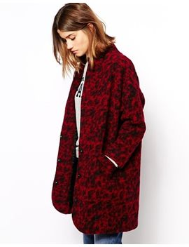 ganni-coat-in-boiled-wool-animal-print by ganni