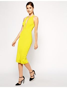 asos-ultra-plunge-t-bar-scuba-pencil-dress by asos-collection