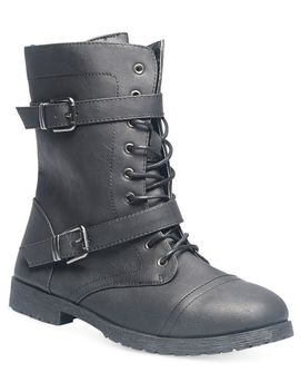 double-strap-combat-boots by wet-seal