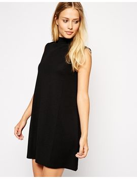 asos-a-line-dress-in-texture-with-high-neck by asos-collection
