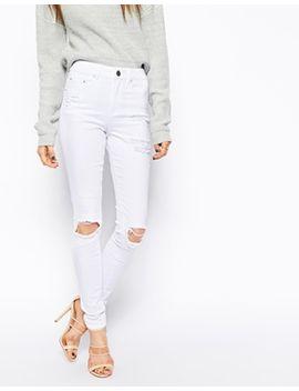 asos---ridley---jean-skinny-à-déchirures-aux-genoux-et-sur-les-cuisses---blanc by asos-collection