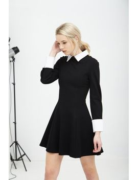 black-&-white-structured-long-sleeve-collar-cuff-dress by lavish-alice