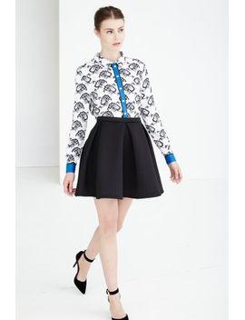 black-scuba-volume-skater-skirt by lavish-alice