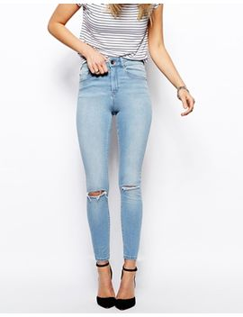 asos-ridley-skinny-ankle-grazer-jeans-in-watercolour-light-wash-blue-with-ripped-knees by asos-collection