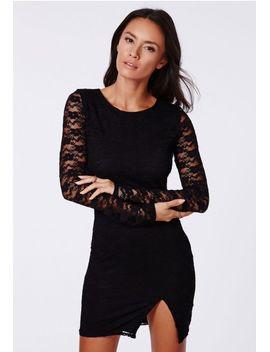 isla-lace-side-split-long-sleeve-bodycon-dress-black by missguided