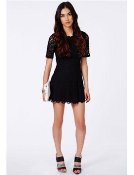coretta-black-scallop-edge-lace-dress by missguided