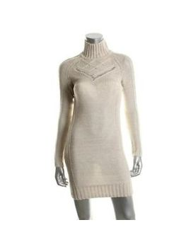 victoria-secret-moda-new-beige-knit-long-sleeves-turtleneck-sweaterdress-m-nwot by ebay-seller