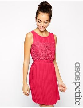 asos-petite-exclusive-skater-dress-with-pleated-skirt-and-lace-top by asos