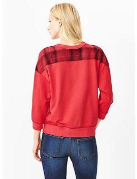 plaid-panel-cocoon-sweatshirt by gap