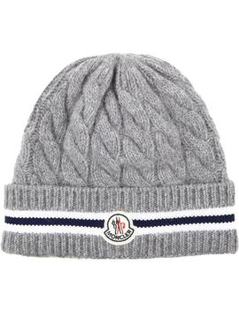 cable-knit-stripe-beanie by moncler