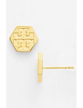 logo-hexagon-stud-earrings by tory-burch