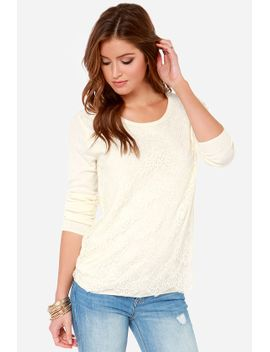 lace-it-on-me-cream-lace-sweater by lulus