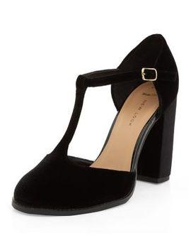 wide-fit-black-velvet-t-bar-block-heels by new-look