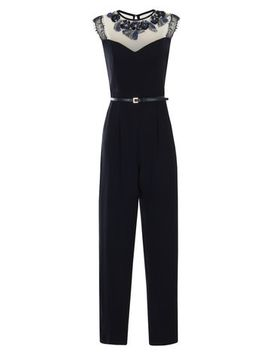 little-mistress-navy-lace-neck-jumpsuit by dorothy-perkins