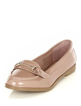 stone-patent-metal-snaffle-trim-loafers by new-look