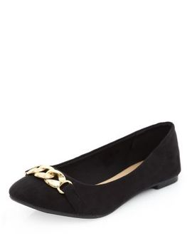 black-suedette-chain-trim-front-pumps by new-look