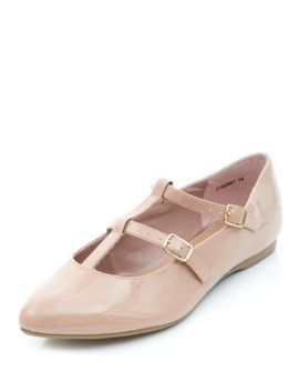 wide-fit-stone-patent-t-bar-double-strap-point-flats by new-look