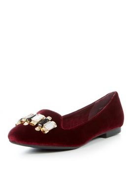 burgundy-velvet-gem-tab-slipper-shoes by new-look