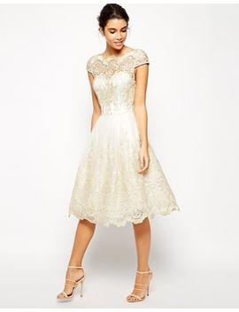 chi-chi-london-premium-metallic-lace-midi-prom-dress-with-bardot-neck by chi-chi-london