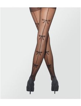 black-sheer-seam-bow-back-tights by new-look