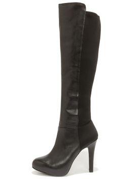 jessica-simpson-avalona-black-leather-knee-high-heel-boots by jessica-simpson